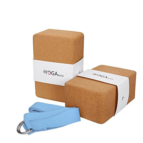 Cork Yoga Block & 2-In-1 Strap Package - All Therapeutic