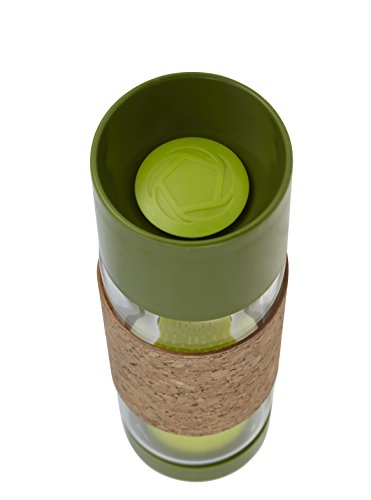 """Tea Time"" Glass Beverage Bottle (Sencha Green) 19 oz - All Therapeutic"