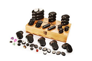 Deluxe 60 Piece Hot Stone Massage Set (Includes 7 Chakra) - All Therapeutic