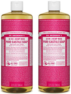 Dr. Bronner's Pure-Castile Liquid Soap Value Pack – Rose 32oz. (2 Pack) - All Therapeutic