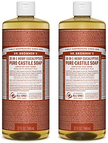 Dr. Bronner's 18-in-1 Hemp Pure Castile Soap (Eucalyptus) Value Pack (64 fl. oz. total ) - All Therapeutic