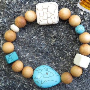 Best Natures all Natural Aromatherapy Bracelet with Cedar Wood Beads, Turquoise Howlite, ant other semi precious stones ... - All Therapeutic