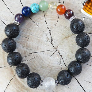 Aromatherapy Bracelet, 7 Chakra stones, Lava Beads DIFFUSER BRACELET - All Therapeutic