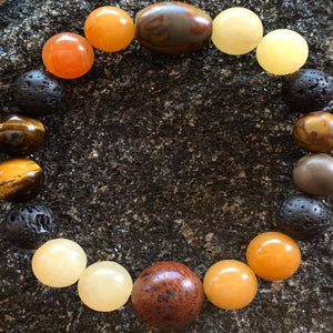 Aromatherapy Diffuser Bracelet with Lava Beads, Jade, Tiger's Eye, Obsidian and other stones - cheerful, pleasant, calm, humble... - All Therapeutic