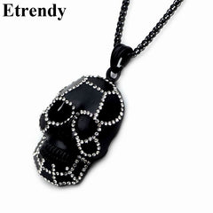 Rhinestone Black Skull Necklace