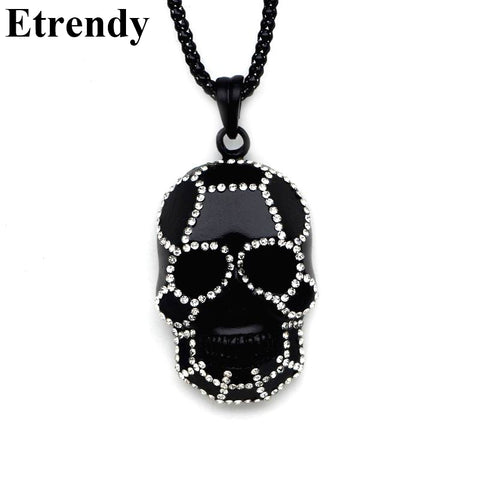 Rhinestone Black Skull Necklace - DAX ACCESSORIES