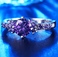 Limited Edition White Gold Plated Amethyst Birthstone Ring - DAX ACCESSORIES