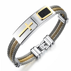 Stainless Steel Cross Bracelet Homme Men Jewelry Gold Color Punk Heavy Metal Accessories 2017 Fashion Mens Bracelets & Bangles - DAX ACCESSORIES