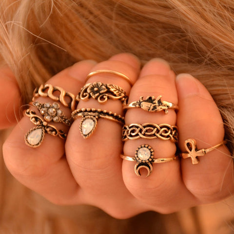 10 PC Statement Ring Set Antique Tibetan Knuckle Rings - DAX ACCESSORIES