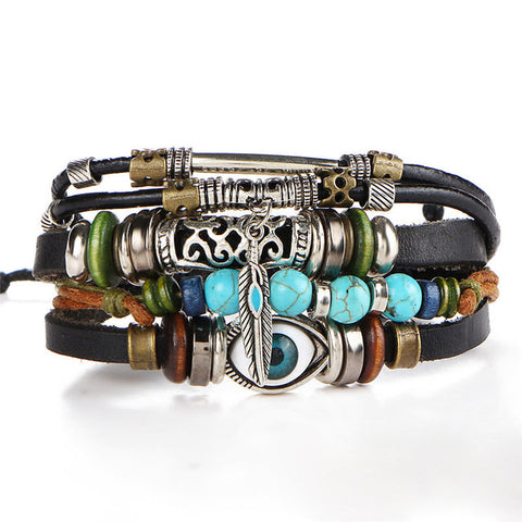 Multilayer Spiritual Leather Bracelet - Adjustable and Unisex - DAX ACCESSORIES