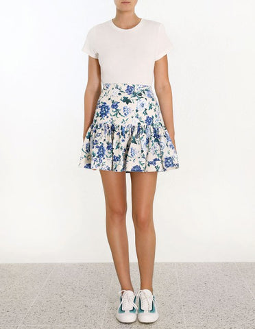 Ruffle Mini Skirt - White