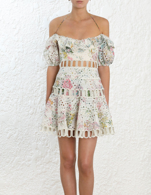 Heathers Off Shoulder Dress - Garden Floral