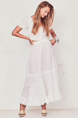 Wild Bloom Maxi Skirt - Cream