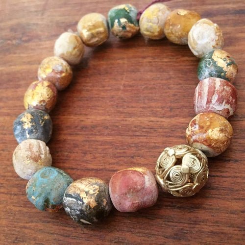 Beads and Gold Leaves Bracelet