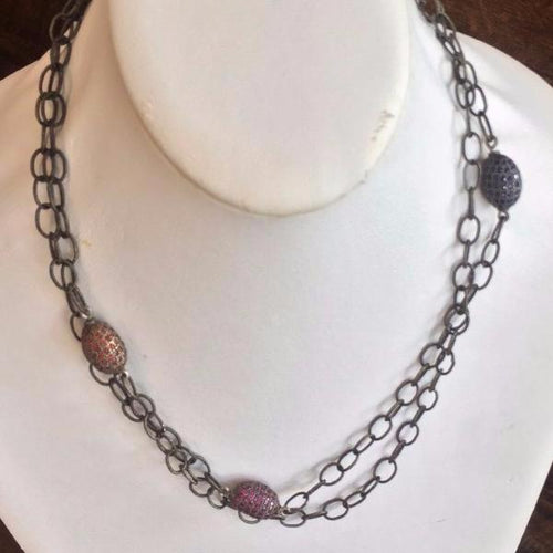 Silver Necklace with 3 Sapphire Pendants