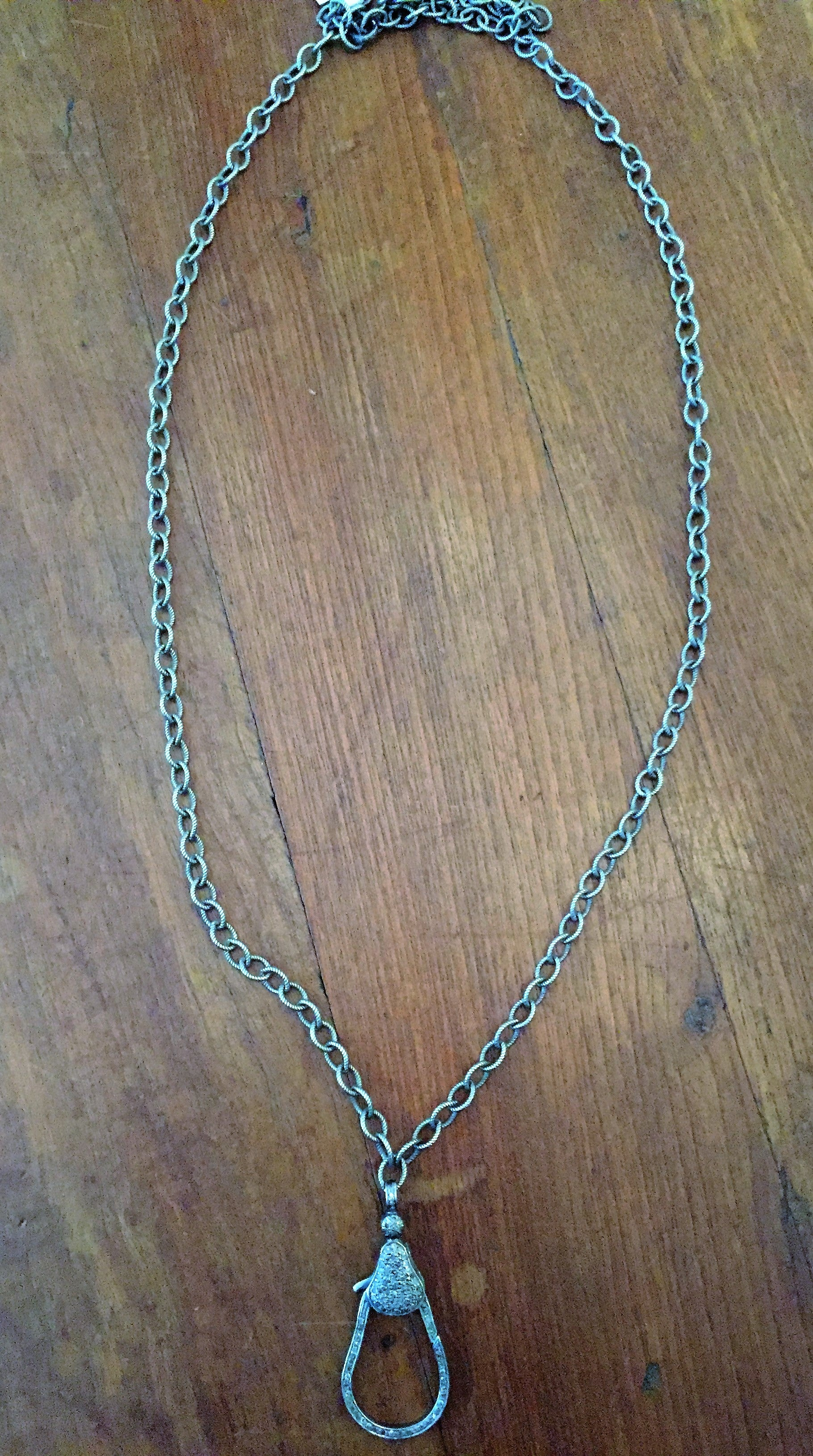 Sterling Silver Chain with Diamonds Two Sided Lock