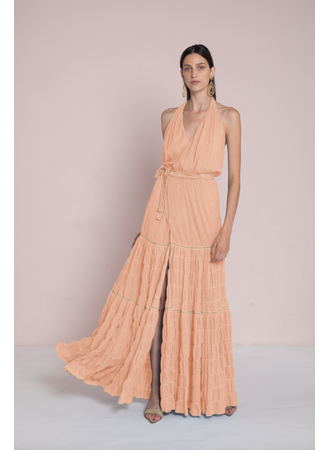 MAXI WRAP DRESS PEACH