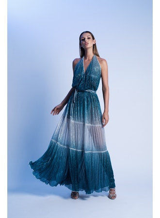 LONG MAXI WRAP DRESS IN LUREX DEGRADE PLISSE