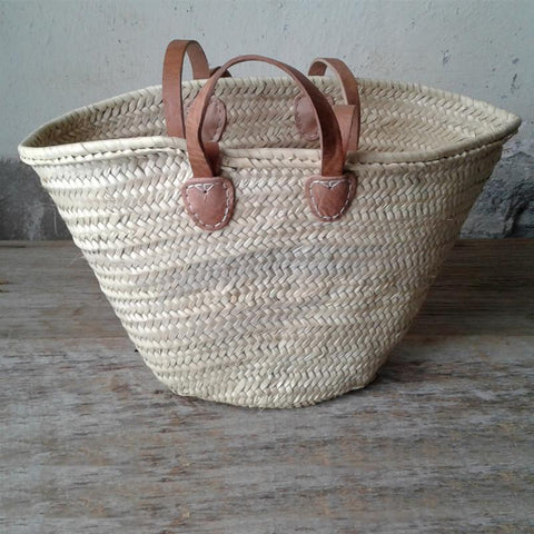 Straw Basket Bag with Floral Accents