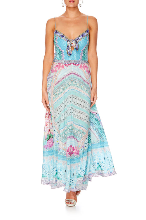 Garden State Long Dress With Tie Front