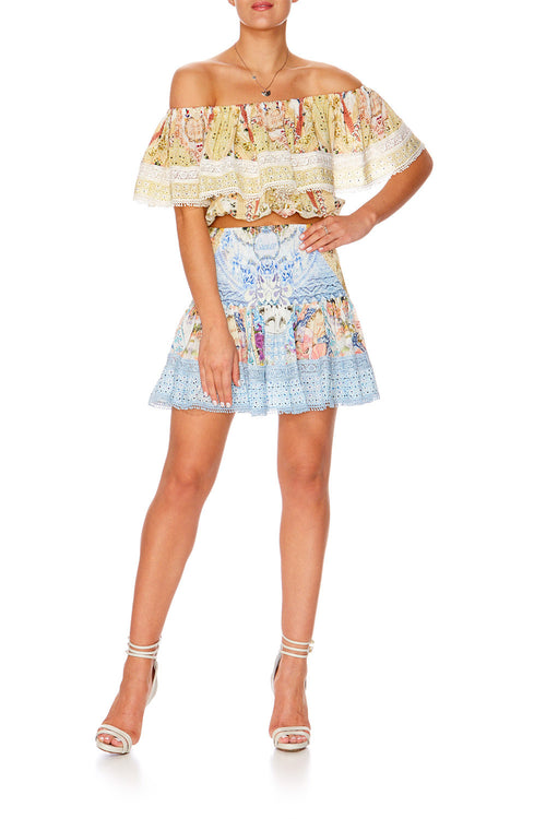 Girl Next Door Short Shirred Skirt