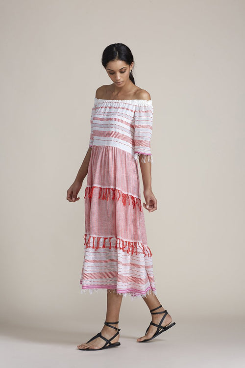 Tiki Long Dress - Red