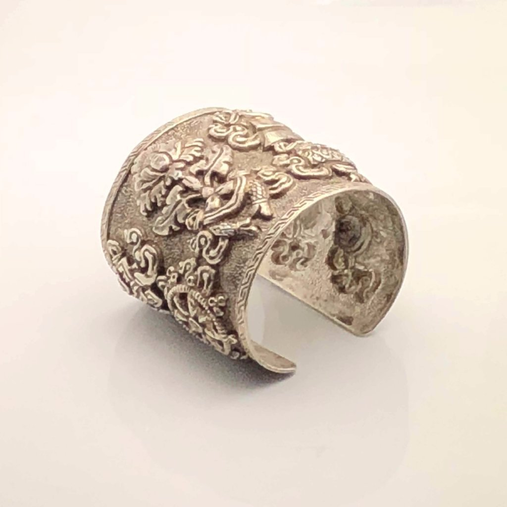 Antique Tibetan Silver Large Cuff