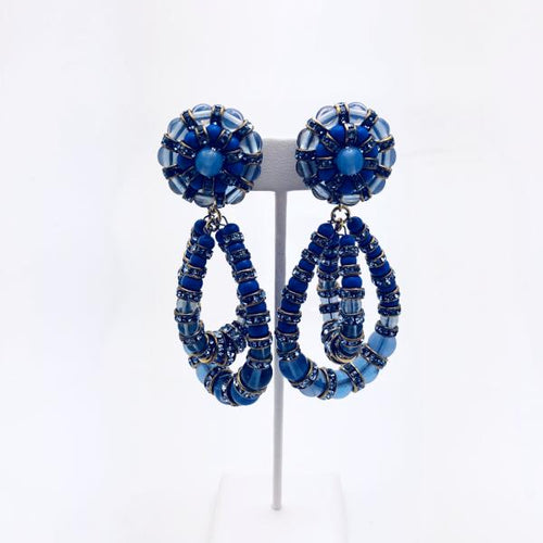 Parisian Chandelier Earrings - Medium Blue