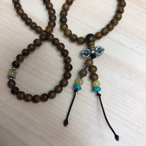 Wood Malas with Yellow and Blue Details Necklace