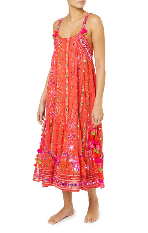 Cotton Tribal Print Maxi Dress - Tomato
