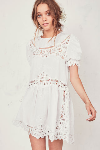 Embroidered and Stripped Linen Dress