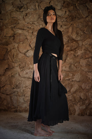 Alcantara Top and Long Suede Skirt
