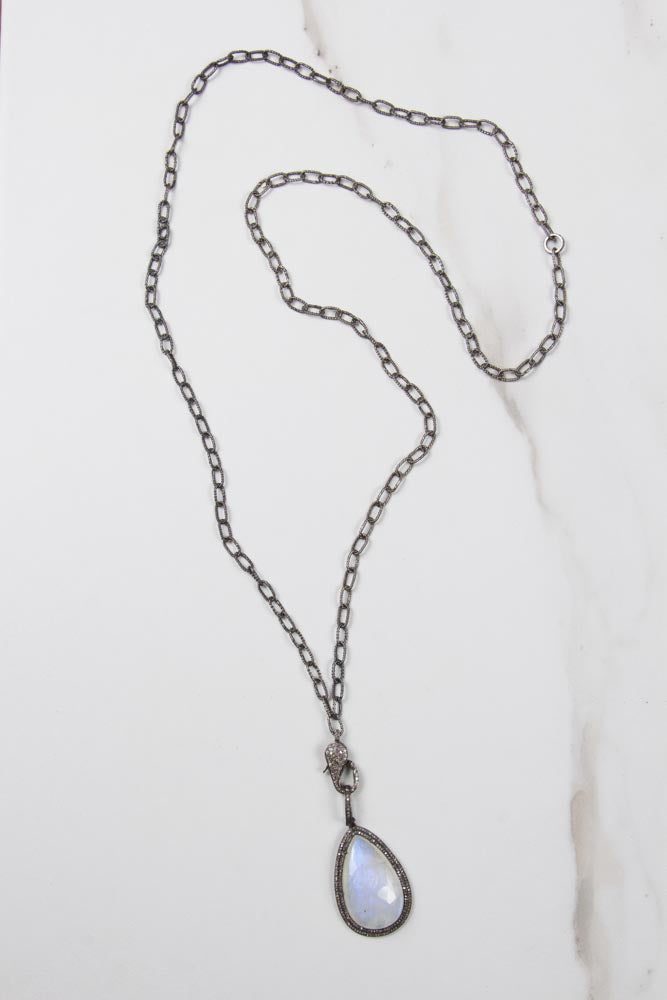 Diamond Lock Silver Chain with Moonstone Pendant