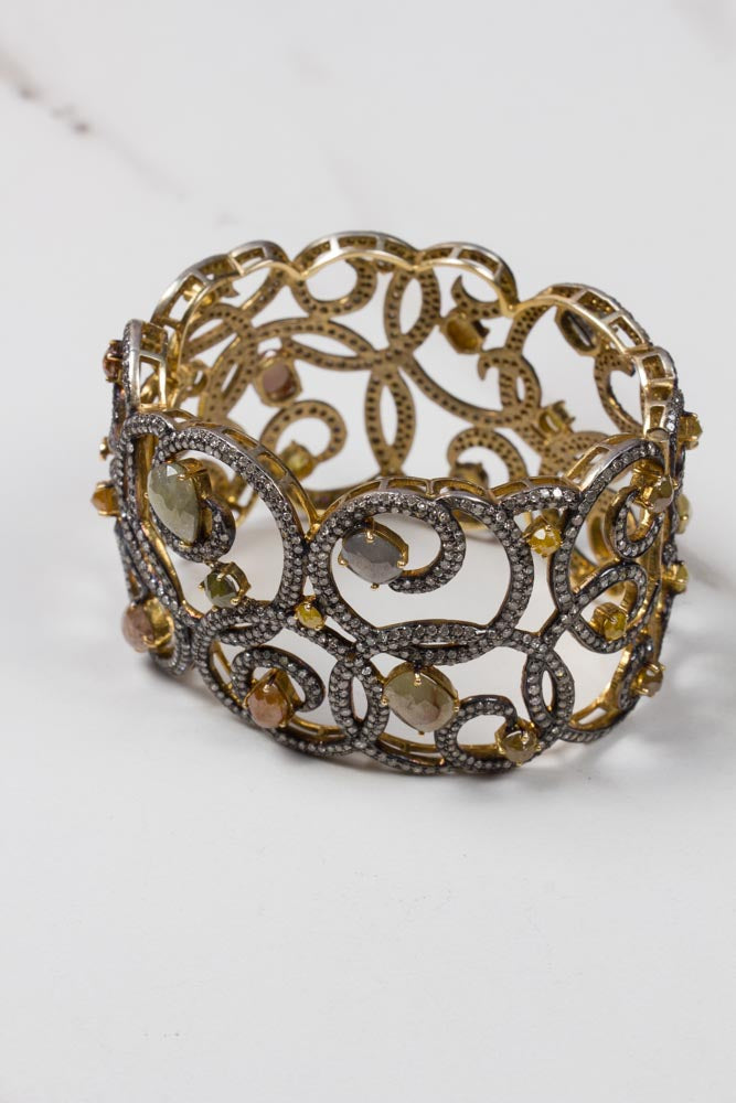 Diamond Cuff in Gold and Sterling Silver