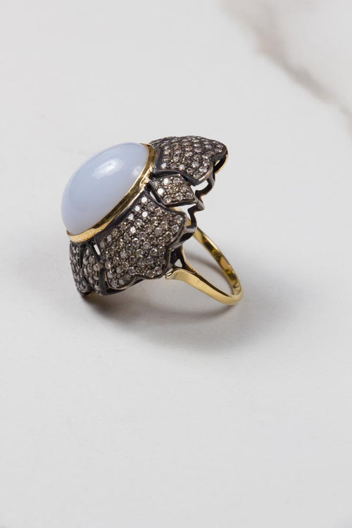 Calcedonia & Diamond Pave Ring , BOHEME FINE JEWELRY - Moda Boheme