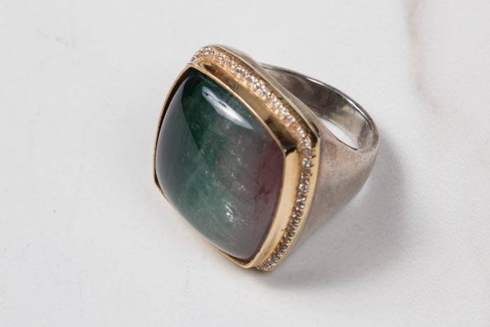 Tricolor Tourmaline Ring