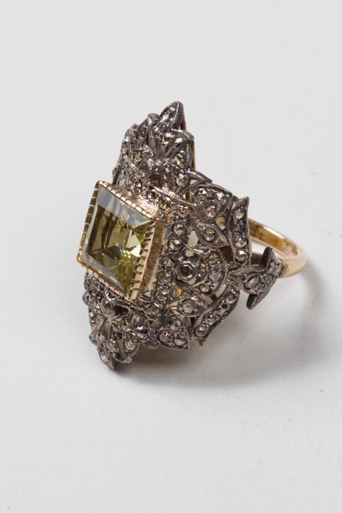 Diamonds & Citrine Ring