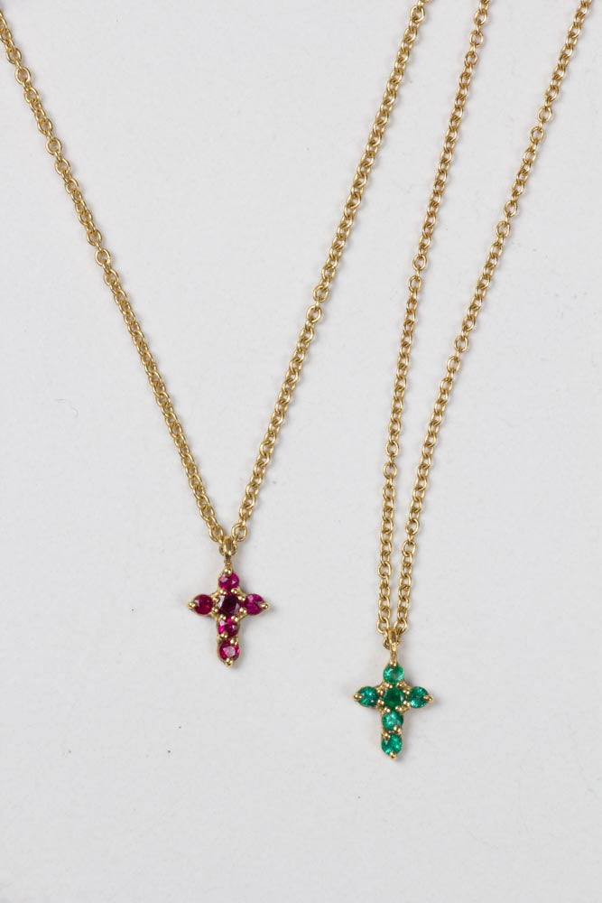 Emerald Cross and Ruby Cross Necklace
