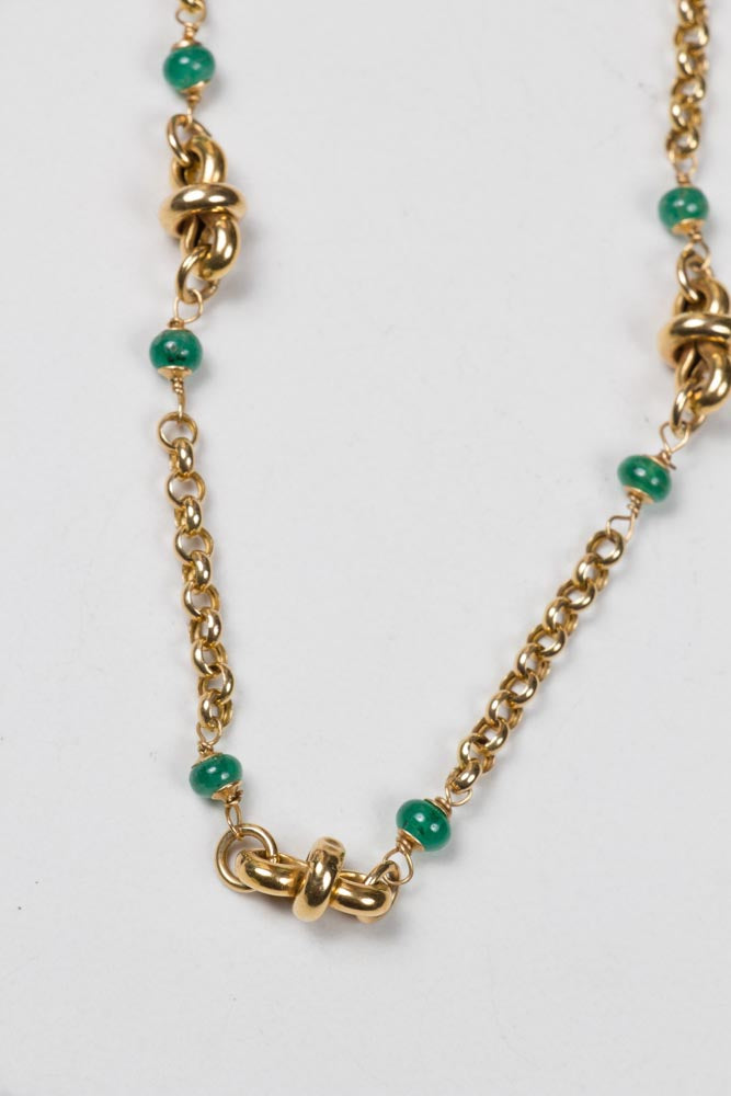 18 KT Gold Italian Chain With Emeralds