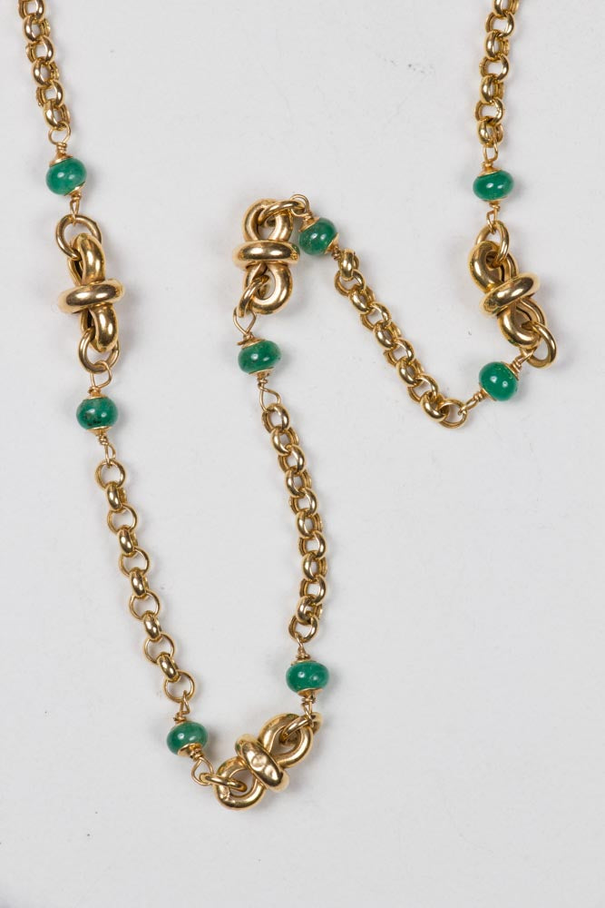 18 KT Gold Italian Chain With Emeralds , BOHEME FINE JEWELRY - Moda Boheme