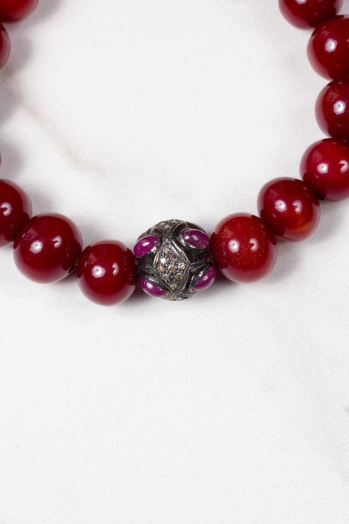 Red Beads With Diamond Ball Bracelet