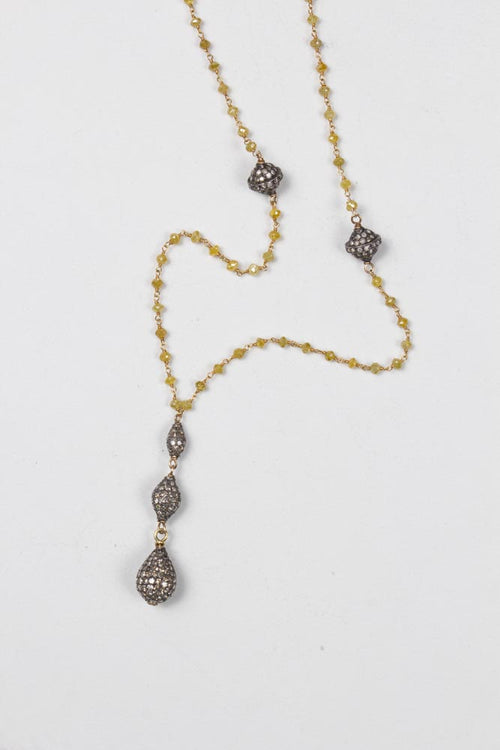 Fancy Yellow Diamond Necklace w/5 pave Diamond Pendants , BOHEME FINE JEWELRY - Moda Boheme