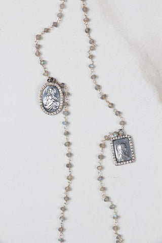 Moonstone with Diamond Ball Necklace