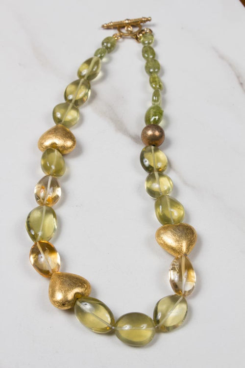 Lemoncitrine and Gold Plated Hearts Necklace