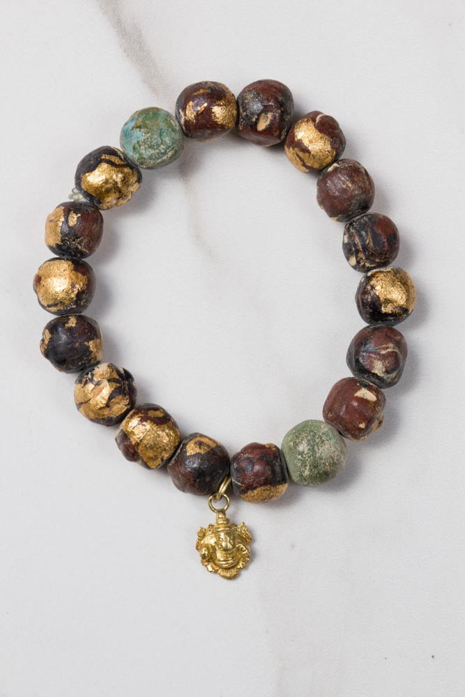 Beads with Gold Leaves & Charm Bracelet , BOHEME JEWELRY - Moda Boheme