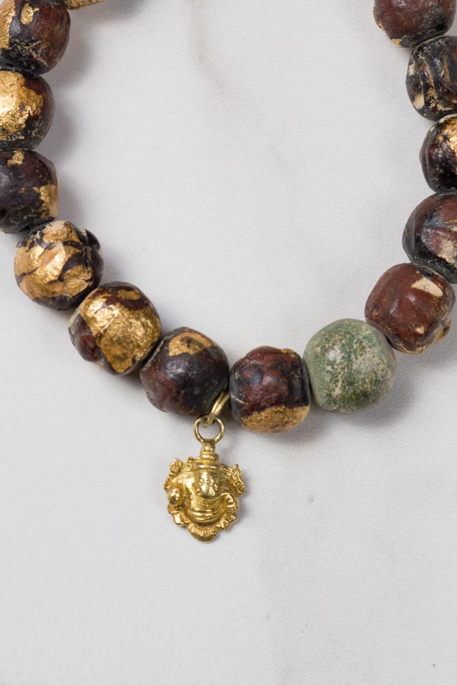 Beads with Gold Leaves & Charm Bracelet