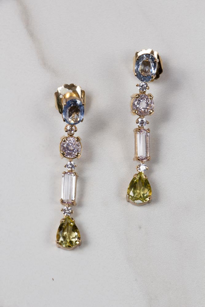 Diamond, Sapphire & Kunzite Earrings , BOHEME FINE JEWELRY - Moda Boheme