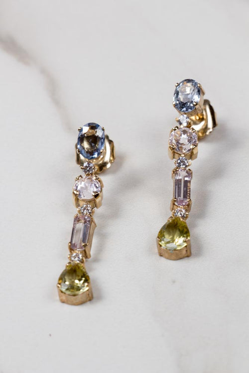 Diamond, Sapphire & Kunzite Earrings