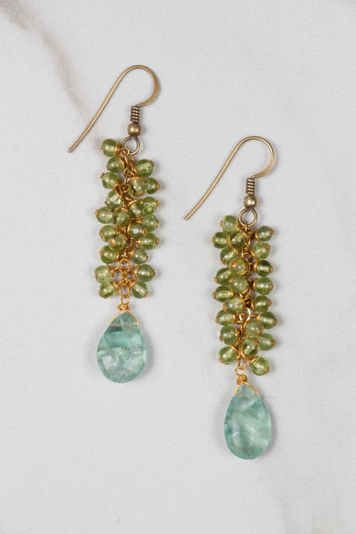 Raindrop Peridot Earrings with Aquamarine , BOHEME FINE JEWELRY - Moda Boheme