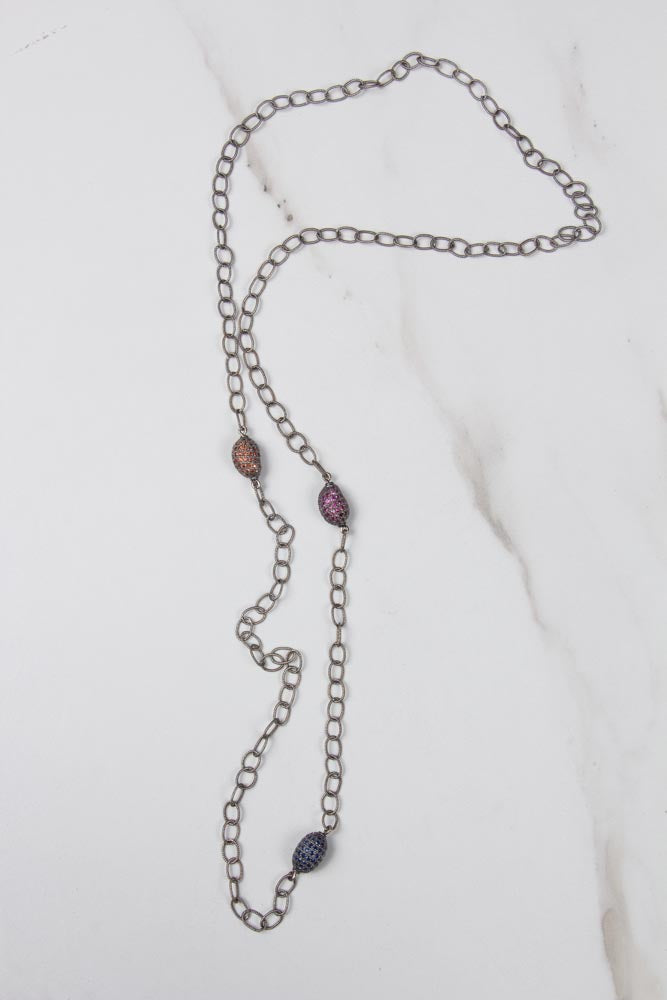 Silver Chain with Multicolor Nugget